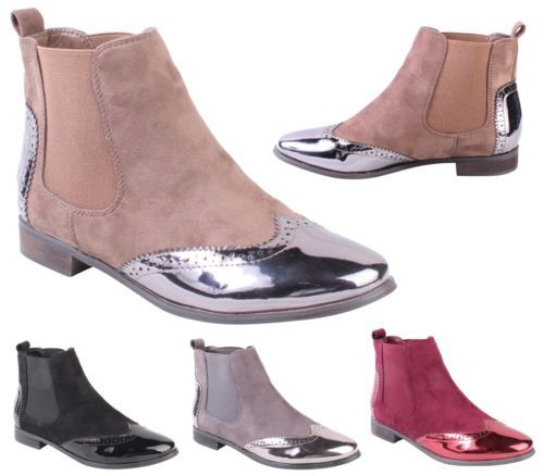 Las Chelsea Boots Womens Ankle Heels Smart Brogue Office Formal Shoes Size