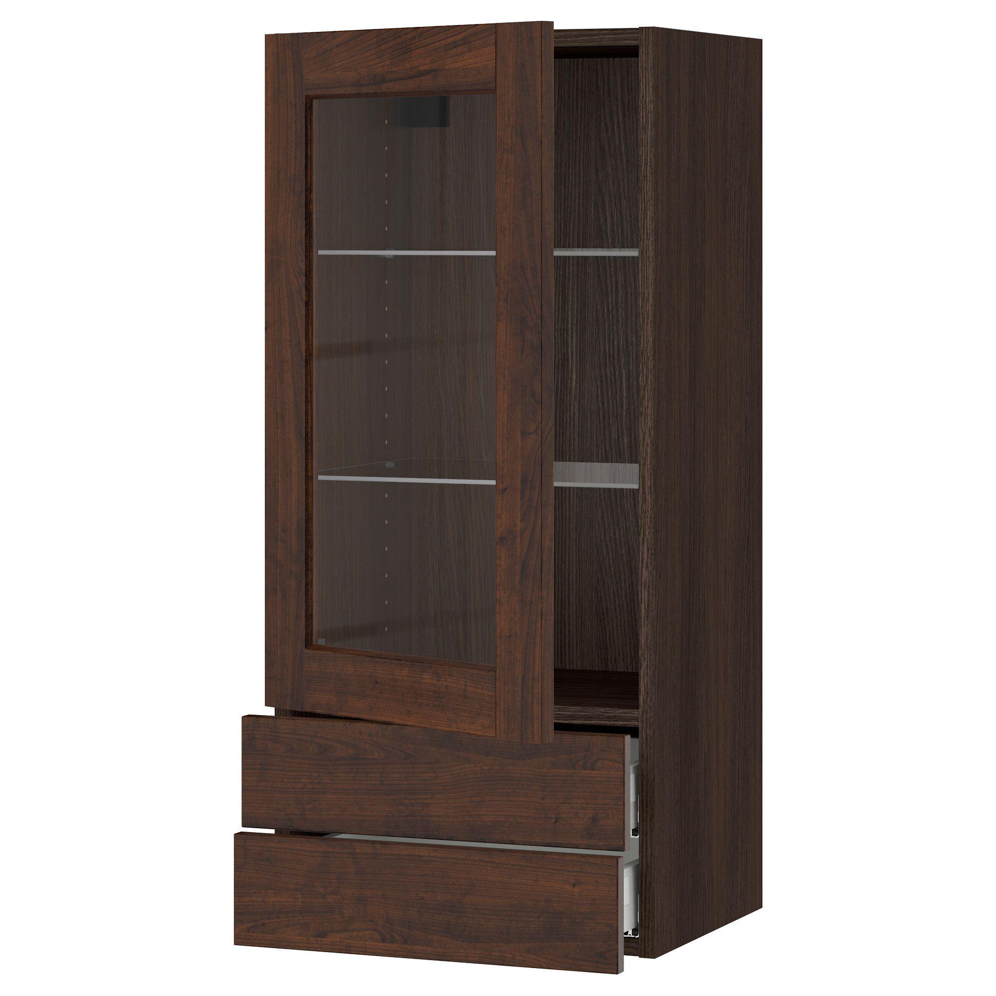 Best Ikea Sektion Wood Effect Brown Wall Cabinet W Glass 400 x 300