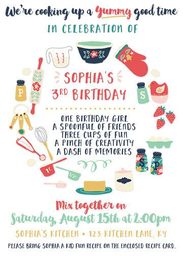 Kids cooking birthday party invitation cooking baking birthday kids cooking birthday party invitation cooking baking birthday baking party invite with recipe cards front and back designs stopboris Gallery