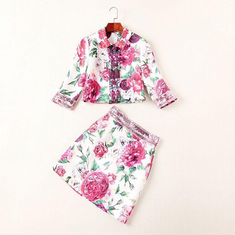 Dames 2018 automne fleurs imprimer jumelages tourner vers le bas col haut court + Slim Mini jupe femmes chaud carrière costumes colorés