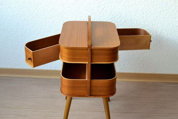 f25ef1971 RESERVED Vintage sewing basket coffee table bedside table jewelry box  nightstand Mid-Century Modern 60s