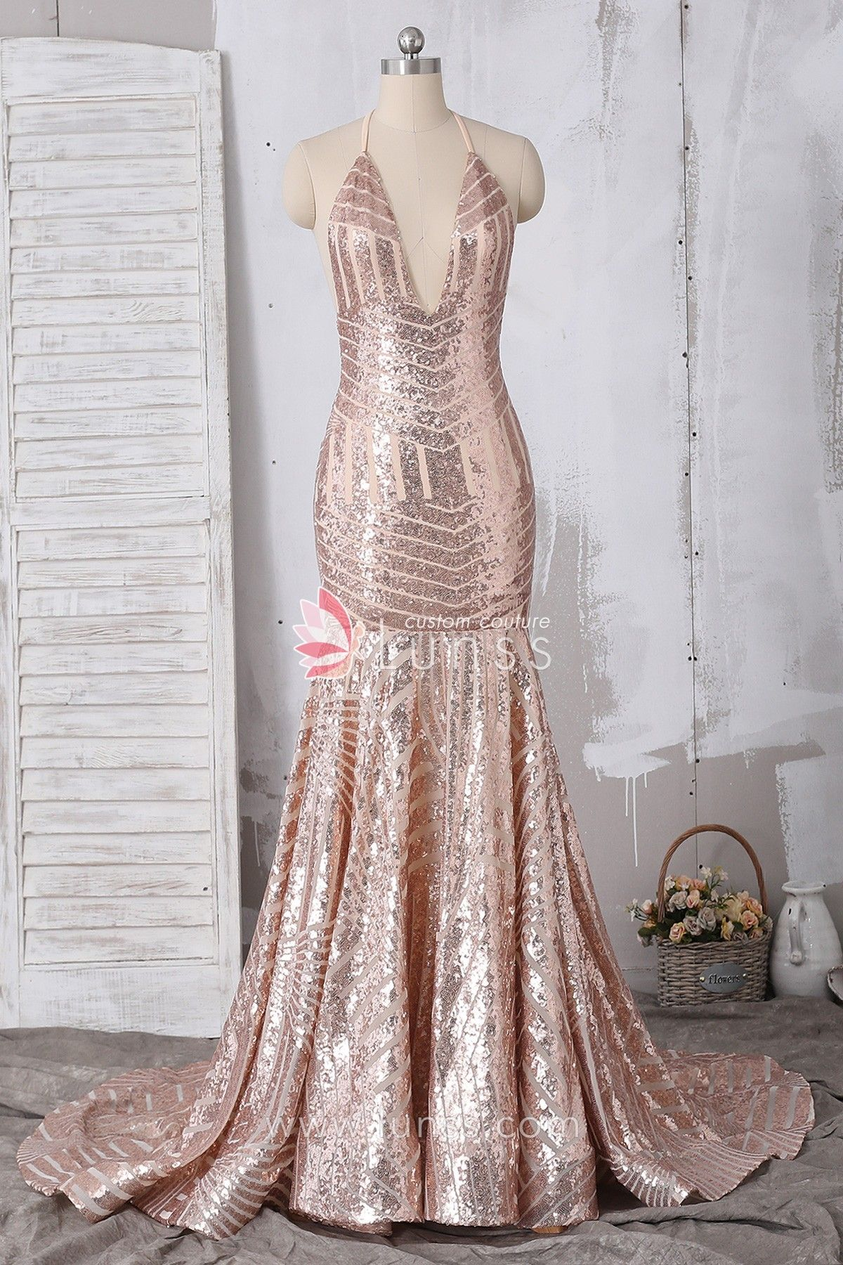 ecf78de5cc6 Rose Gold Halter Plunging Long Pattern Sequin Mermaid Prom Dress ...