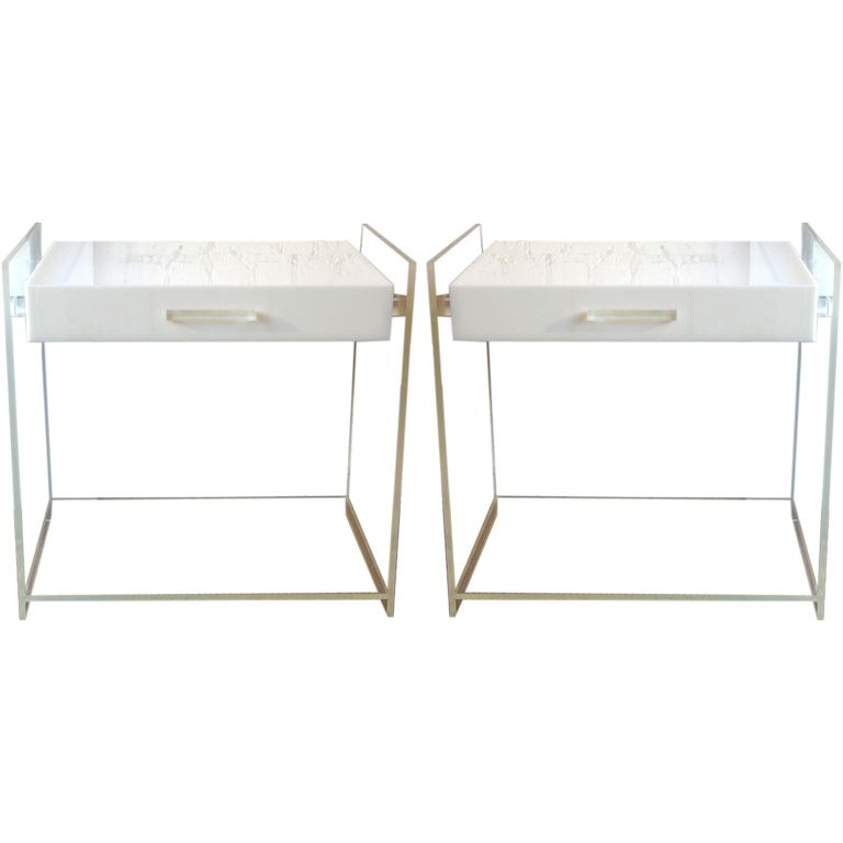 Pair Of Italian Lucite End Tables Attributed To Kartell Italy Circa 1970 A  Chic Pair Of