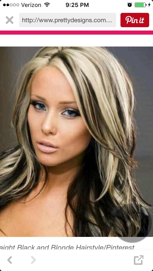 Looking At Blond With Black Streaks Possibilities Hair Color Highlights Hair Highlights Hair Styles