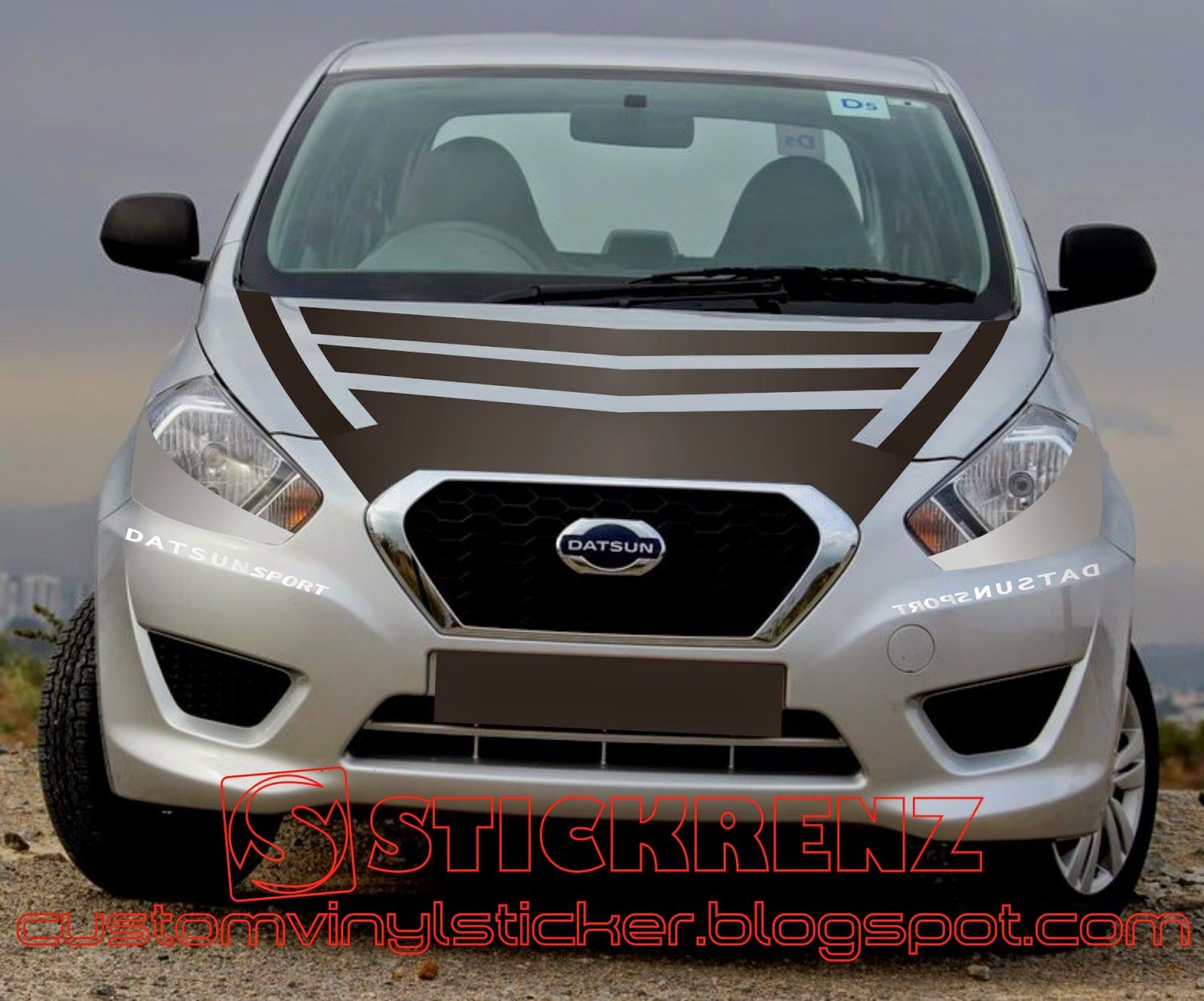 Car cutting sticker design - Datsun Go Hatchback Hood Strip Half Blind Head Lamp Sticker Concept