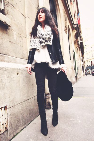 """Black Boots Acne Boots, Gray Jeans IRO Jeans, Black Fedora Asos Hats 