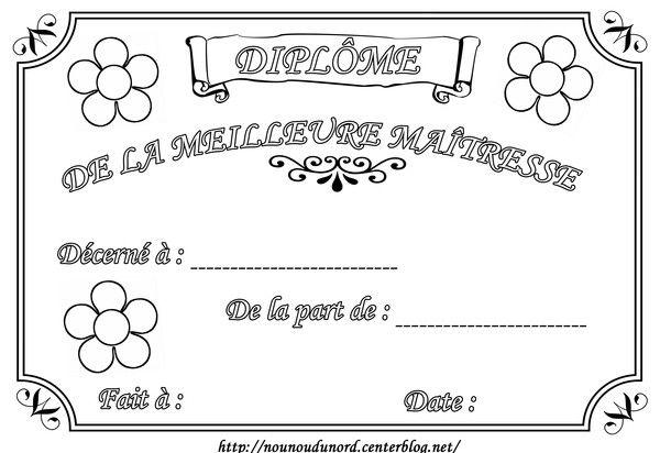 Diplome A Colorier Pour La Maitresse D Ecole Atsem Cadeau Pour