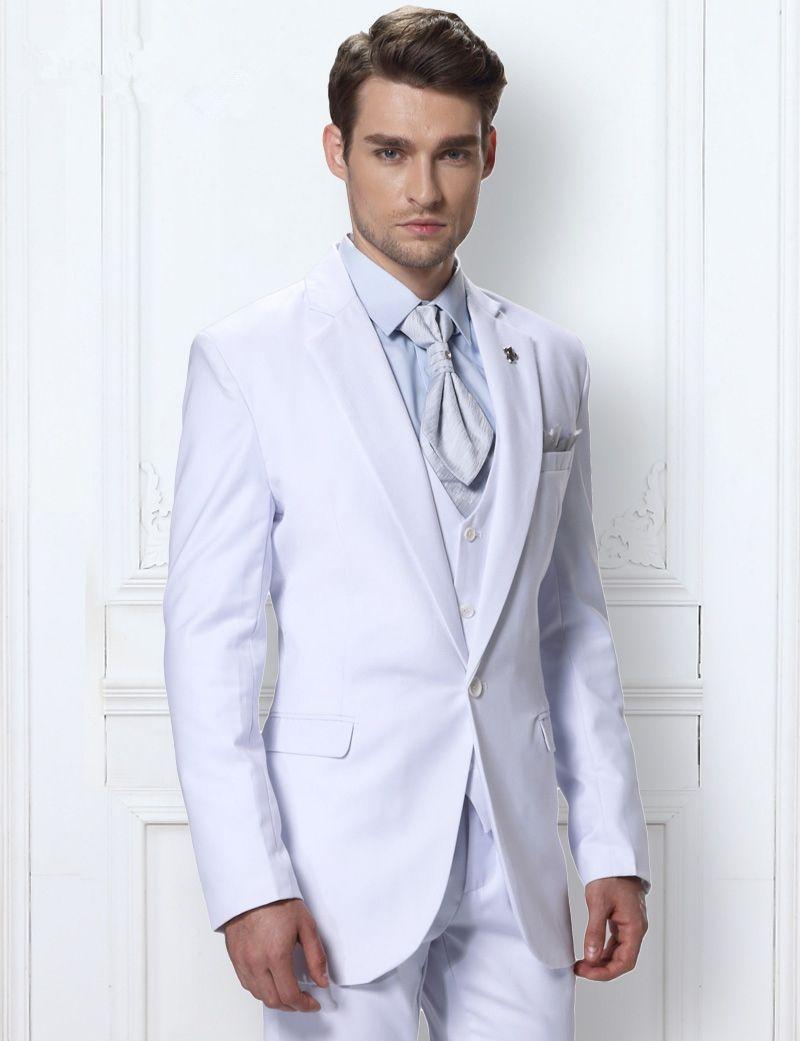 2017 Latest Coat Pant Designs White Formal Skinny Suit Men Wedding ...