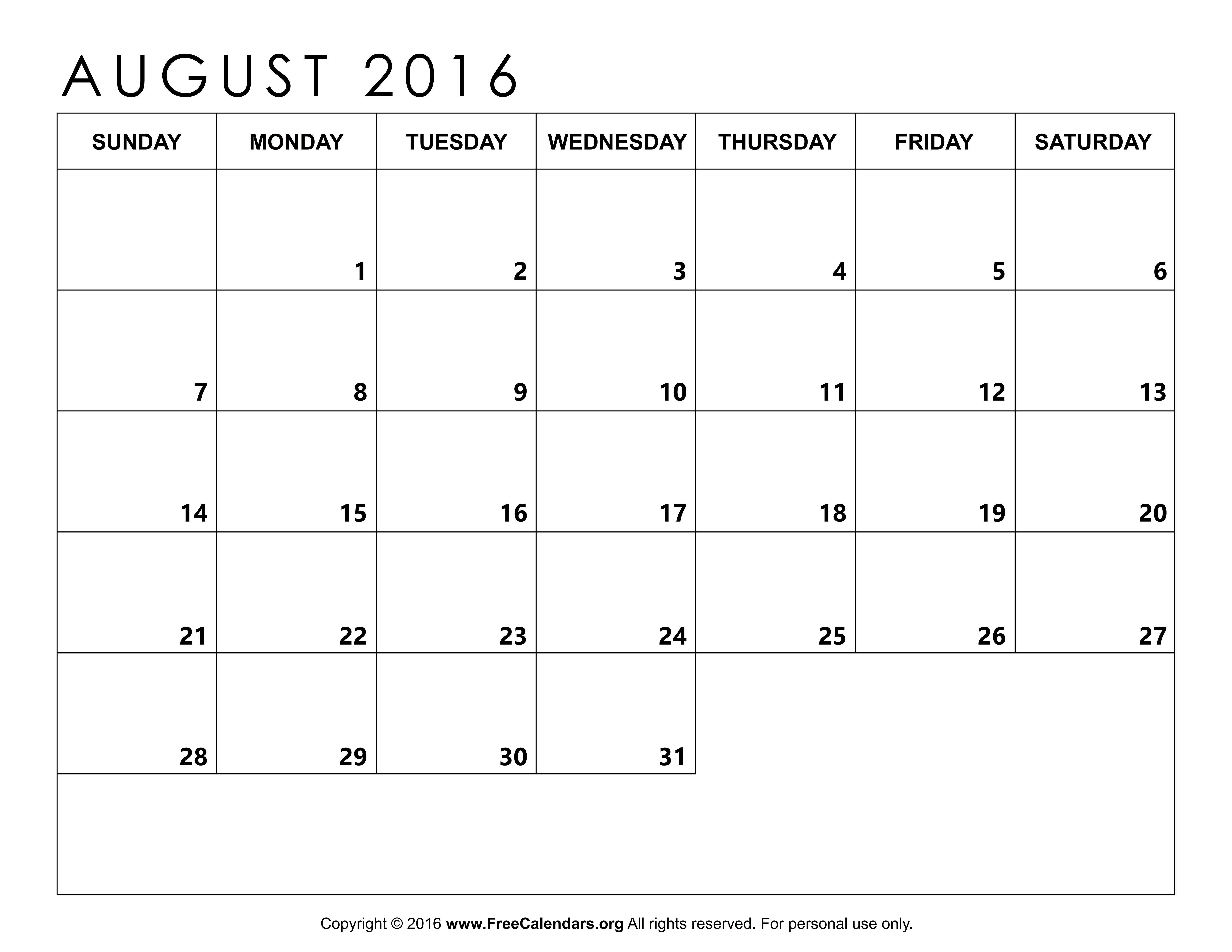 Calendar August 2016 Template Templates Calendar 2016 Calendar