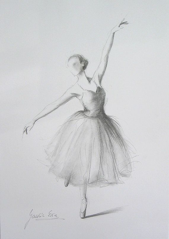 Original Pencil Drawing  X  On White Paper Of Ballerina By Ewa