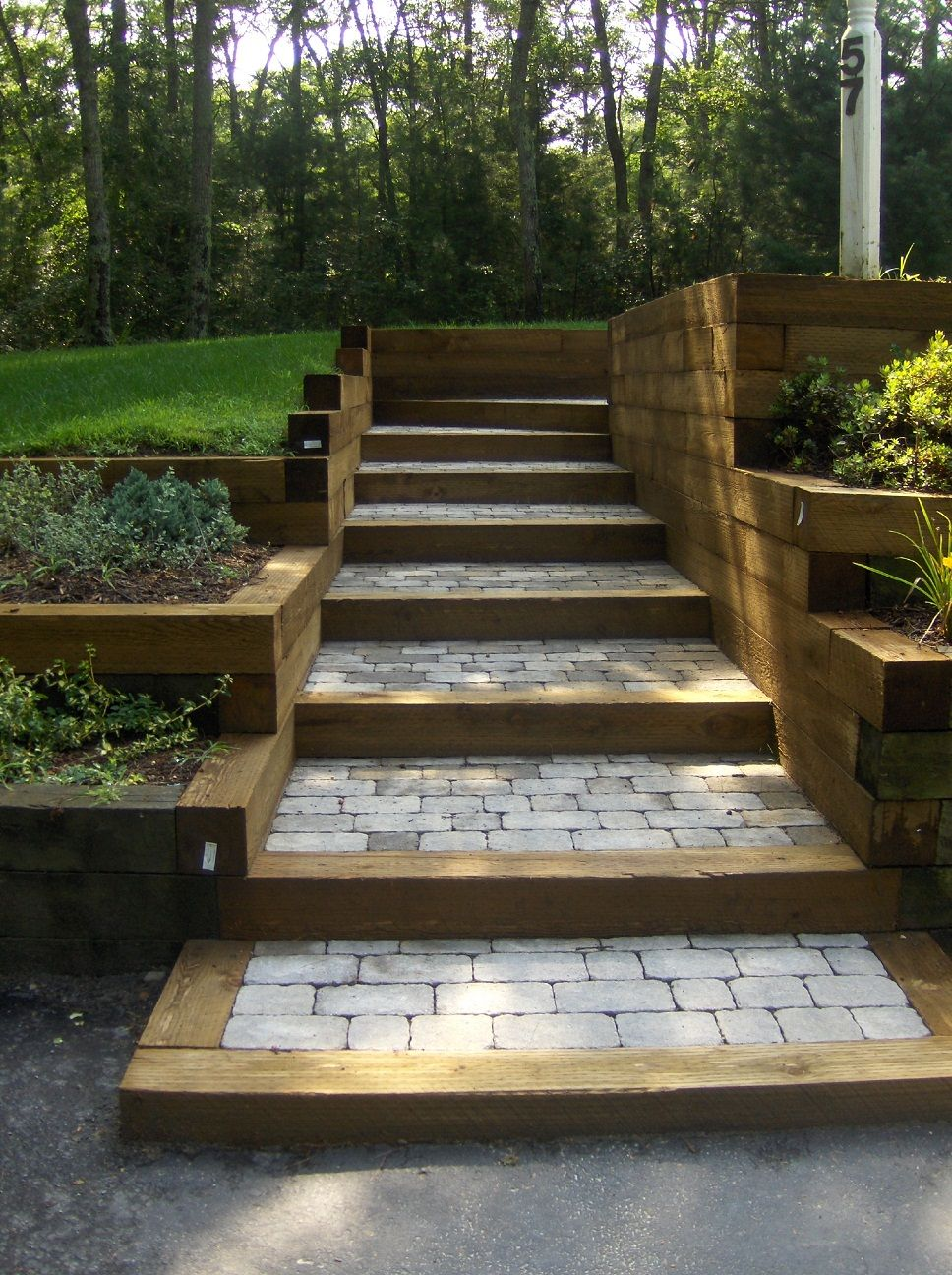 Best Tie Stone Steps With Images Garden Stairs Sloped 400 x 300