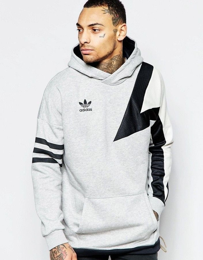 adidas Originals Hoodie With Sleeve Print AJ7832   SWEATSHIRTS ... a99c89fcd9