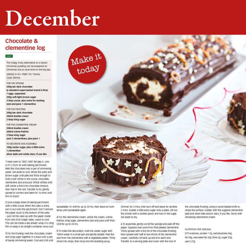 Christmas Cake Decoration Ideas Bbc Good Food Part - 36: Yummy Chrismas Recipe For Chocolate And Clementine Log From BBC Good Food  2014 Calendar