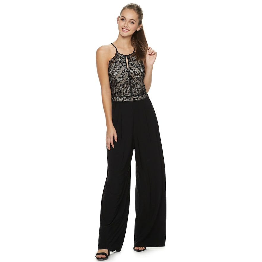 3bcffeae13e76d Juniors' Lily Rose High Neck Lace Jumpsuit in 2019 | Products | Lace ...