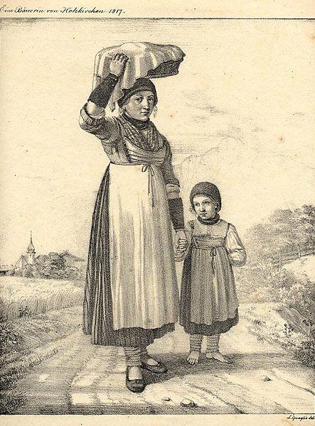Lithographie von Lorenz Quaglio, 1817 u201eEine Bäuerin von - holzkchen