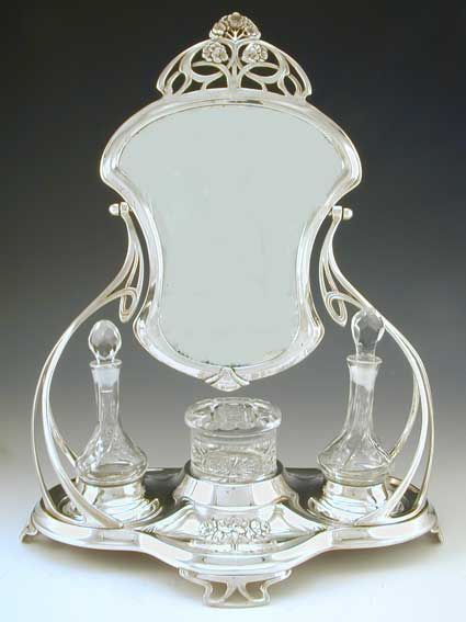 Silver Plate & crystal dressing table set with adjustable mirror ...