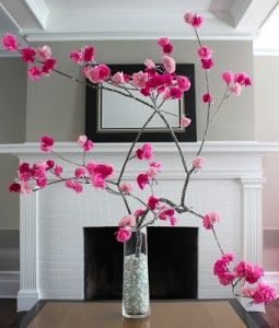 How To Make A Recycled Cherry Tree Decoration Paper Flowers Cherry Blossom Tree Tree Decorations