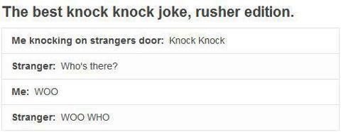 Rusher Knock Knock Joke Knock Knock Jokes Laughing So Hard Parks And Recs
