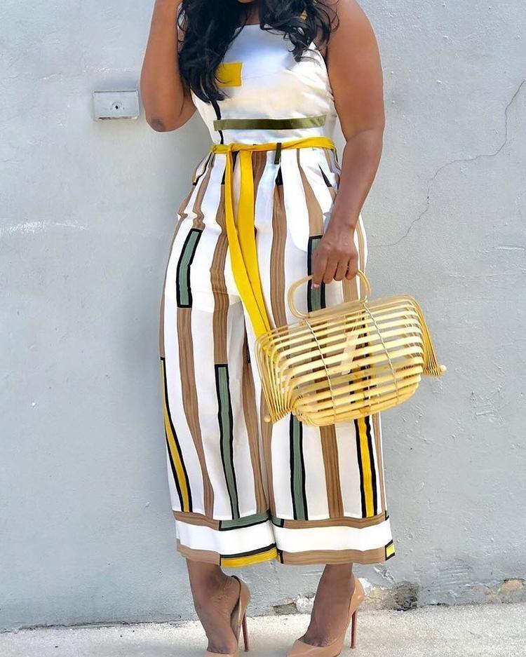 Contrast Striped Backless Wide Leg Jumpsuit