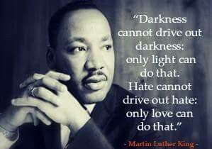 """Darkness cannot drive out darkness; only light can do that. Hate cannot drive out hate; only love can do that."" ~Martin Luther King 
