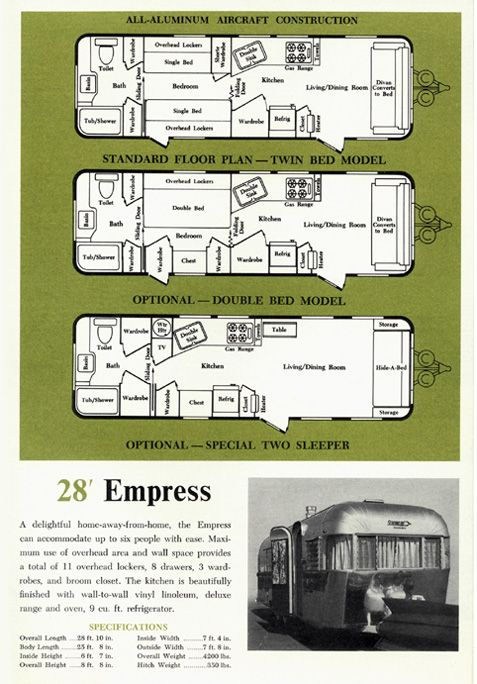 1963 Streamline Trailer Brochure page featuring floor layout options for the 28 ft Empress
