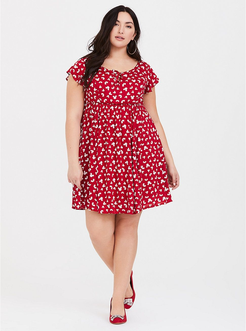 899d5eca377 Plus Size Disney Mickey s 90th Anniversary Red Silhouetted Skater Dress