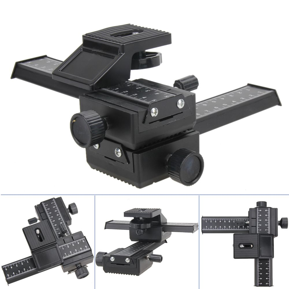 4 Way Macro Shot Focusing Rail Metal Slider for DSLR Camera Adjustable Photography Rail Slide System for Nikon/Minolta/Peantax
