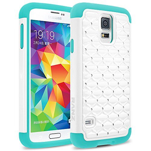 Galaxy S5 Case, RANZ® Turquoise Mint/ White Spot Diamond Studded Bling Crystal Rhinestone Dual Layer Hybrid Cover Hard Case For Samsung Galaxy S5 I9600 (Verizon, AT&T Sprint, T-mobile) RANZ http://www.amazon.com/dp/B015X6LRZ2/ref=cm_sw_r_pi_dp_4n3ywb0SPGP4N