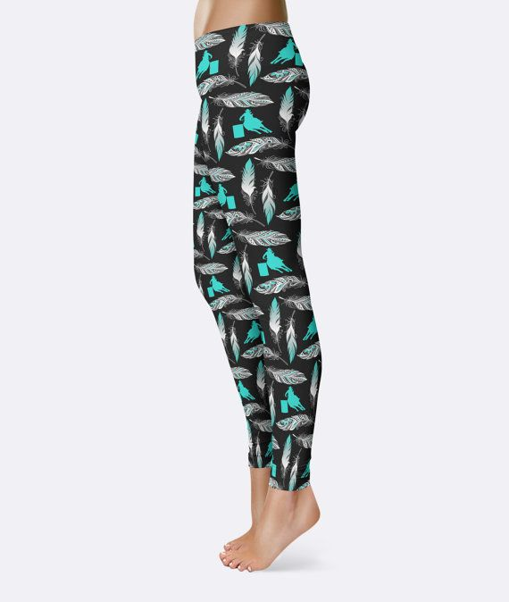 b798a1206fd2f Barrel Racing & Feather Leggings Turquoise You Can by Anarchy307 ...