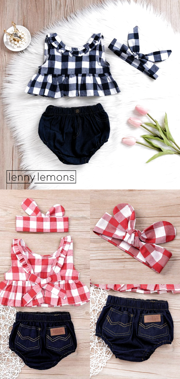Sweet Summer Set. A happy girl is the prettiest girl. The outfit is only icing on the cake 💗Red and blue two pieces outfit for your baby girl. Lenny Lemons Collection #LennyLemons #BabyGirl #SummerOutfit #SummerStyle