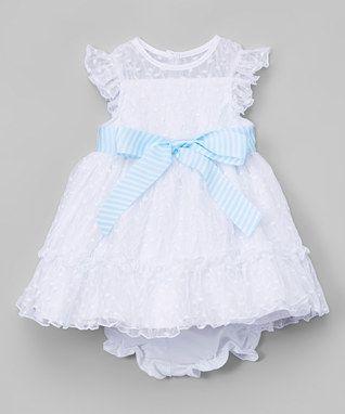 b4b3261c5e63 White & Blue Sash Angel-Sleeve Dress & Diaper Cover - Infant, Toddler &  Girls