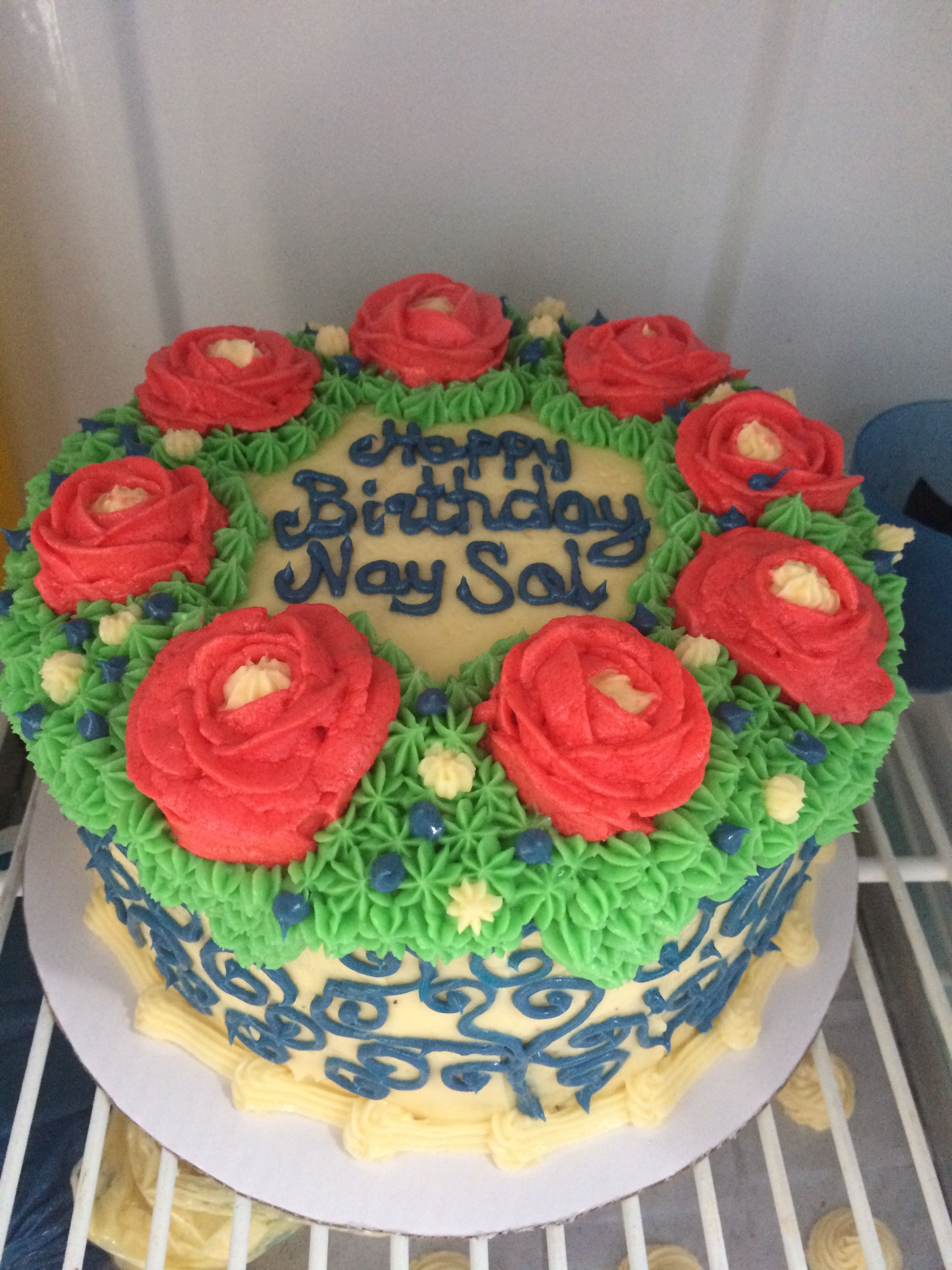 A Double Layered Marble Flower Cake For A 70th Birthday Of A Mother