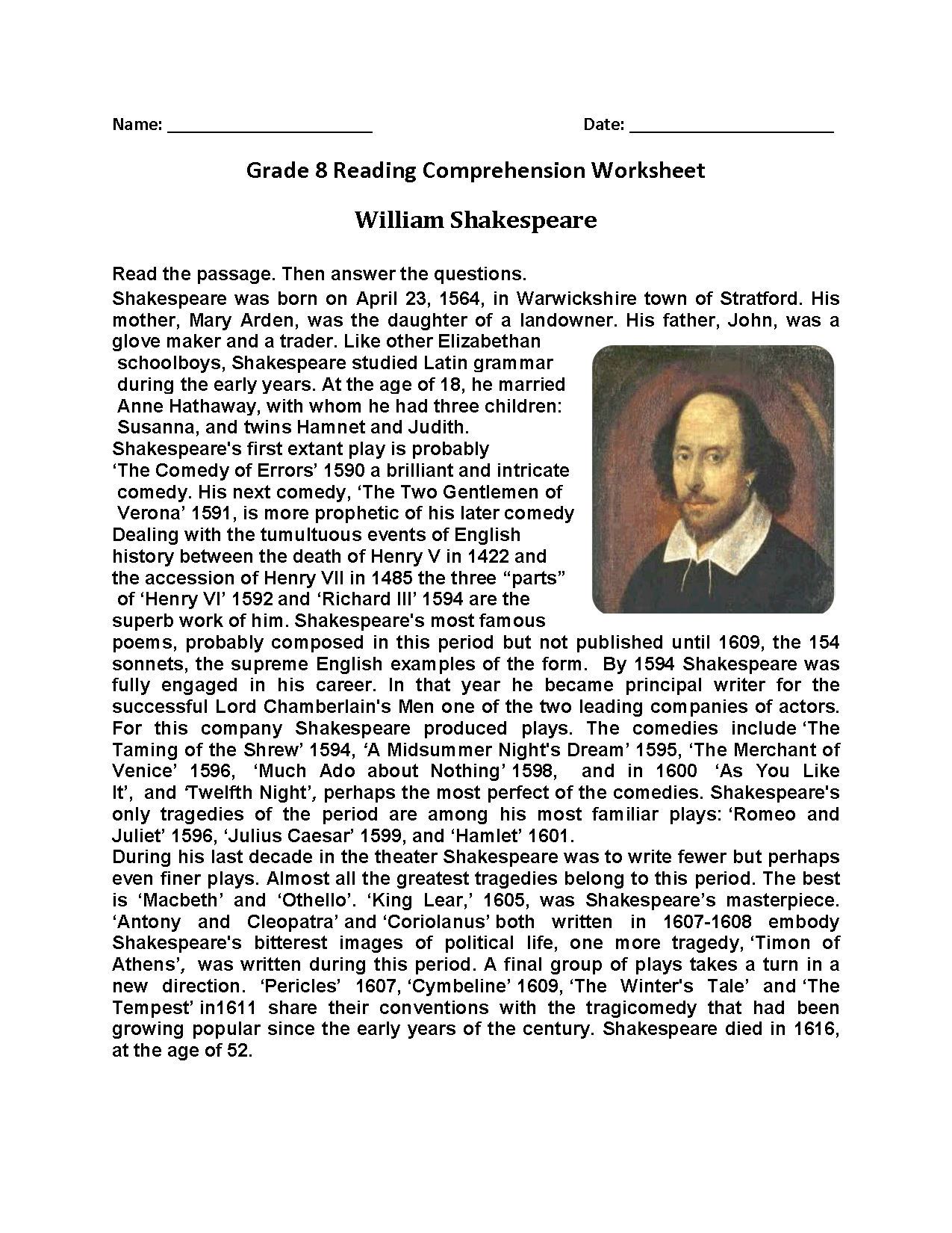 William Shakespeare Eighth Grade Reading Worksheets