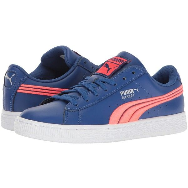 PUMA Basket Classic Badge (True Blue/Bright Plasma) Men's Shoes ($80)