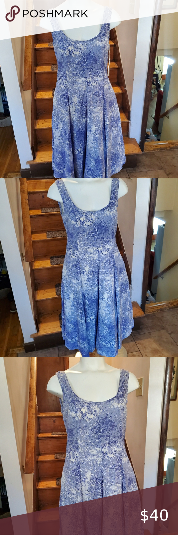 Talbots Blue White Dress Talbots New With Tags Blue And White Dress Talbots Dresses Maxi Blue And White Dress Animal Print Shirt Dress Classic Shirt Dress [ 1740 x 580 Pixel ]