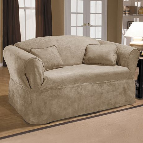 Surefit Sure Fit Luxury Suede Relaxed Fit Loveseat Slipcover Mink Love Seat Furniture Slipcovered Sofa