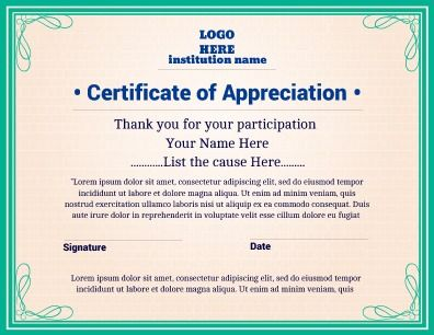 Certificate of appreciation implementing a bold and fresh design certificate of appreciation implementing a bold and fresh design great for personal or professional use yadclub Choice Image