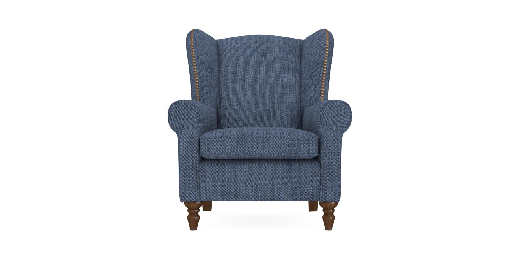 Buy Sherlock With Studs Chair (1 Seat) Belgian Soft Twill Navy High Turned - Standard from the Next UK online shop