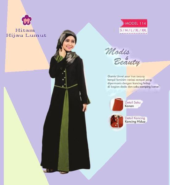 Baju Gamis Mutif M114 Hitam Hijau Best Seller Kode Mutif 114
