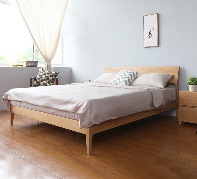 Antoine Wood Bed Frame (Solid Oak Wood) Minimalist bed