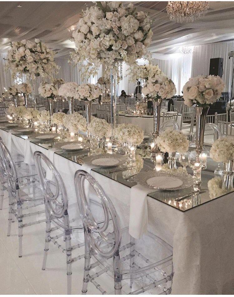 12/05/15 All white wedding reception! #itsmydangwedding #wedding #flowers #reception #whitetie #theknot #whitewedding #whiteweddingflowers