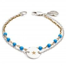 Engraved Star and Wish bracelet with Gold Silver Turquoise
