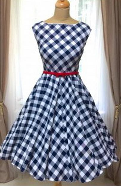 Retro šaty modro-bílá kostka 50.léta kolová sukně nemačkavé spodnička modrá  modré šaty léto pásek handmade ruční výroba česká výroba svatba romantika  ... c35370ce87
