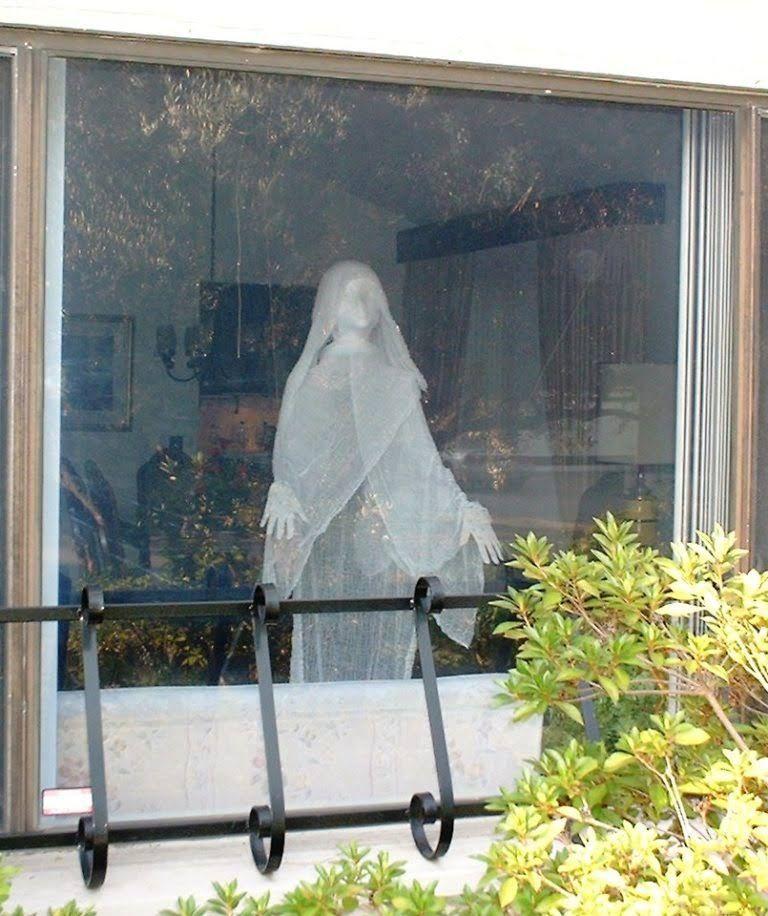 Ghost in Window Halloween Prop Homemade halloween Pinterest - halloween window decorations