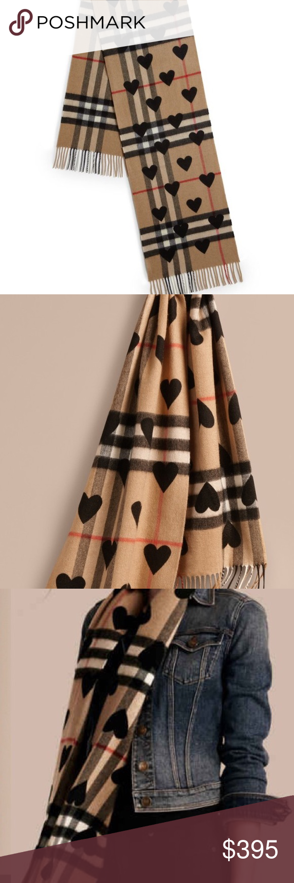 Burberry scarf check with hearts new! Brand new Burberry
