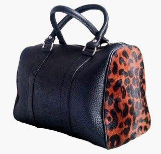 negro Baulito cuero grabado leopardo MORA piel motivo con de wxxW1t