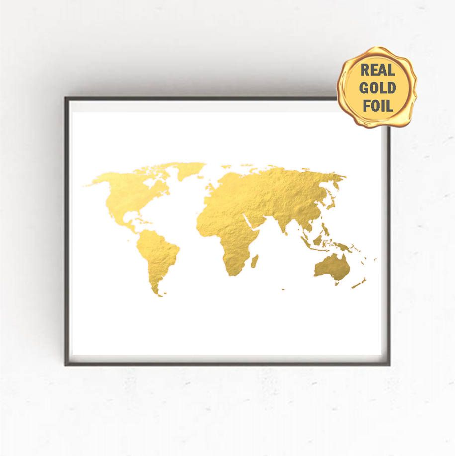 GOLD FOIL World Map, Gold Foil World Map, World Map Wall Art, Gold ...