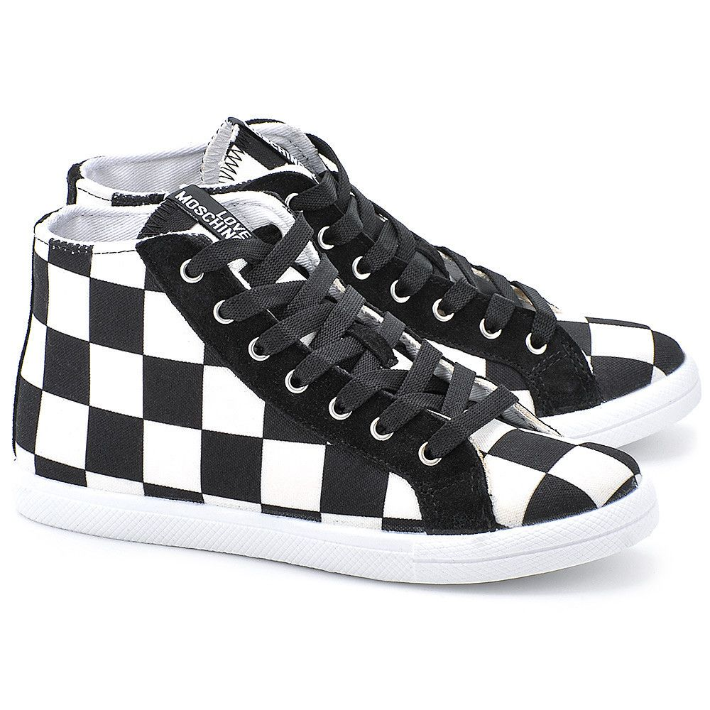 Love Moschino Check Biale Canvasowe Trampki Damskie Ja15082g1kii000a Top Sneakers Sneakers Shoes