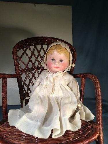 "Rare Size 12"" Antique Martha Chase Cloth Stockinet Doll Lovely Face Blue Eyes"