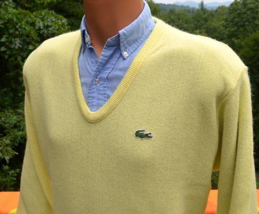 31411ec9f9 70s vintage golf sweater v-neck LACOSTE izod alligator jumper yellow ...